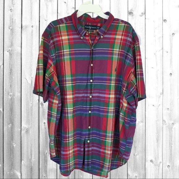 Ralph Lauren Plaid Madras Short Sleeve Shirt 3XL. M 5ab314966bf5a6931aa228ae 7f24dcf209ca